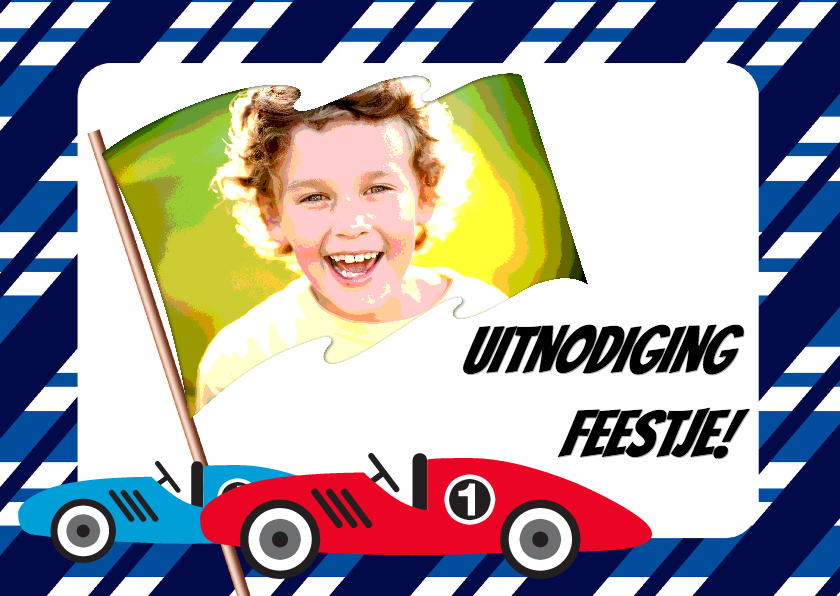 Kinderfeestjes - Uitnodigingskaart Race! - BK