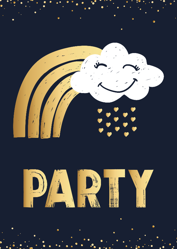 Kinderfeestjes - Uitnodigingskaart wolk goud