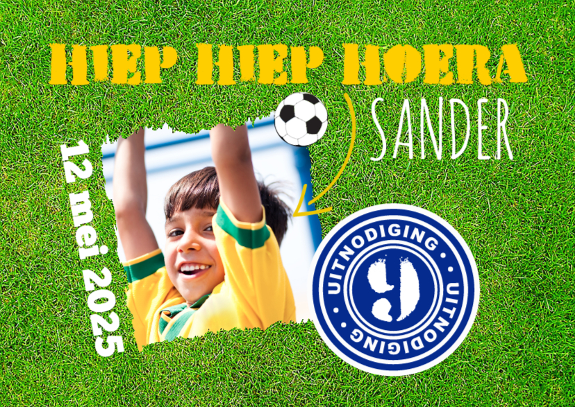 Kinderfeestjes - Uitnodigingskaartje voetbalfeestje