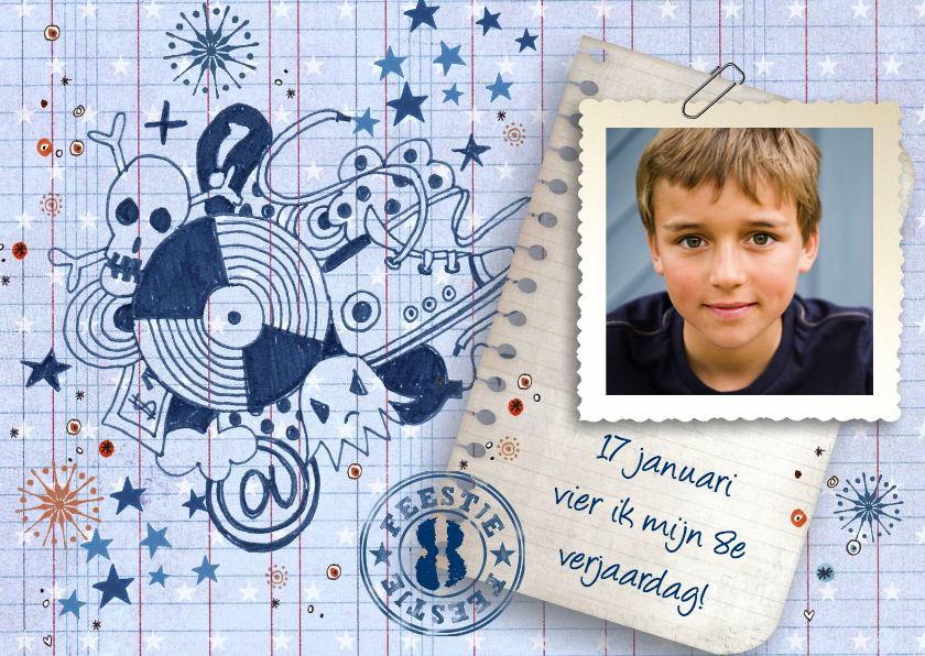 Kinderfeestjes - Verjaardag FEEST jongen Stoer Grafiti