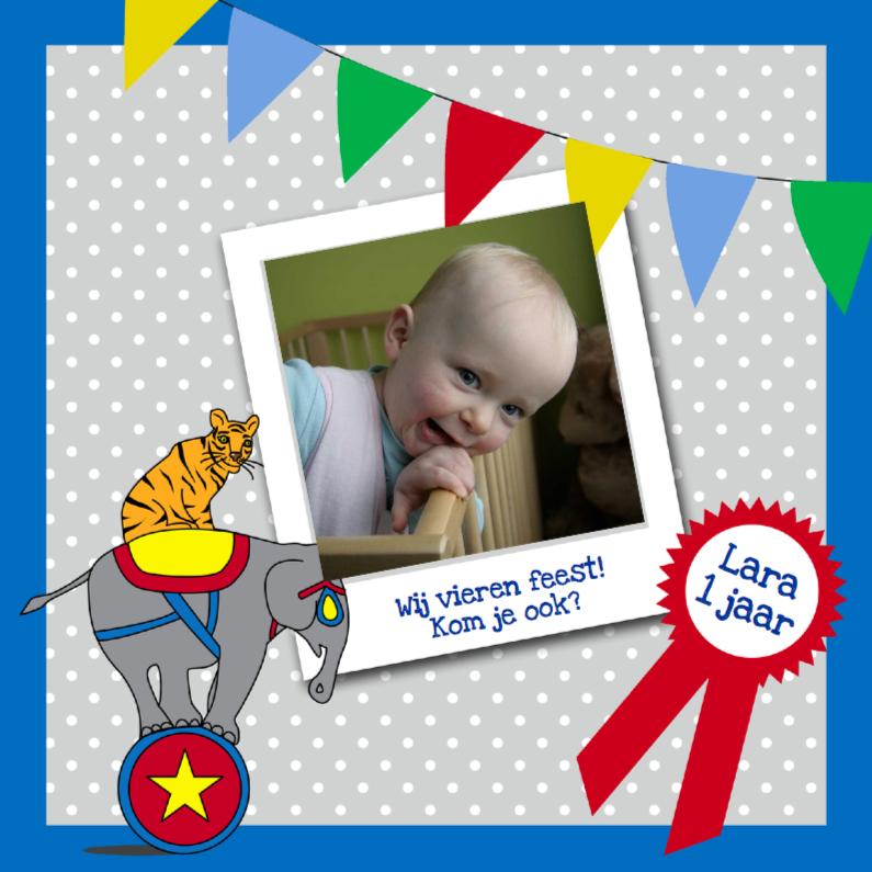 Kinderfeestjes - Verjaardag uitnodiging circus blauw