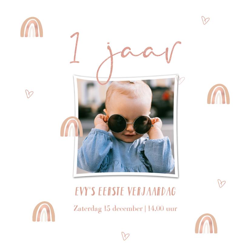 Kinderfeestjes - Verjaardags uitnodiging meisje 1 jaar met regenboogjes