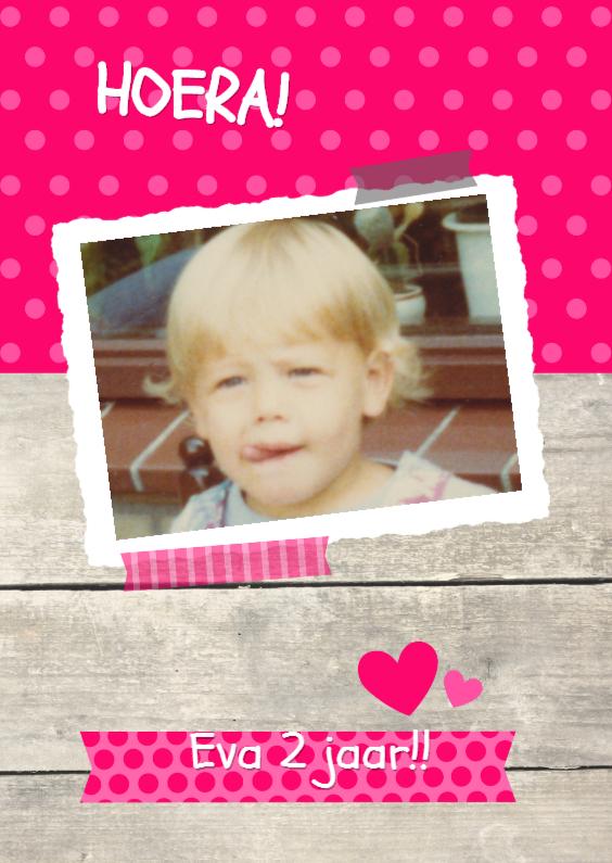 Kinderfeestjes - Vrolijke foto uitnodiging roze