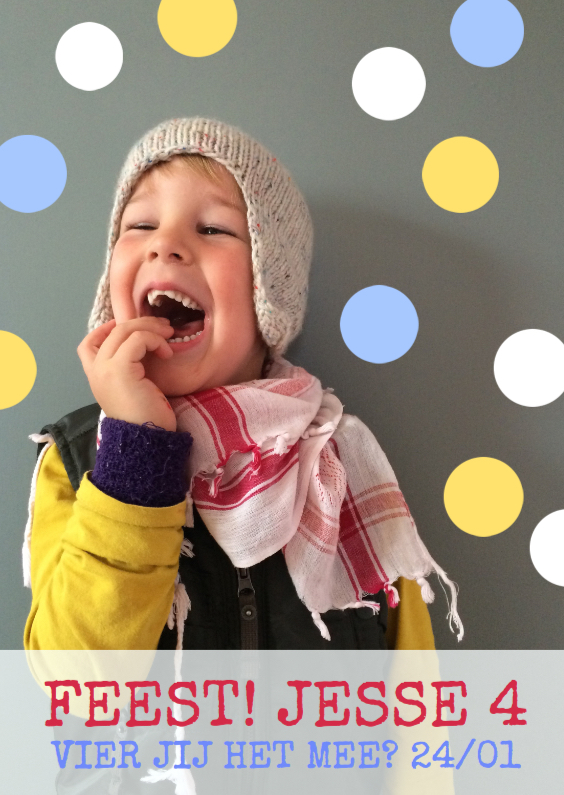 Kinderfeestjes - Vrolijke hippe uitnodiging boy