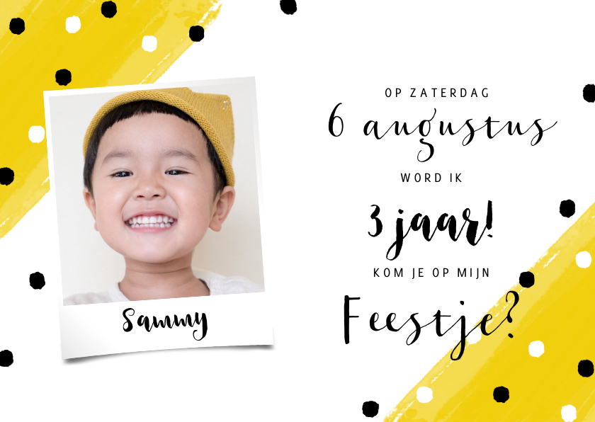 Kinderfeestjes - Vrolijke uitnodiging kinderfeestje met verf en confetti