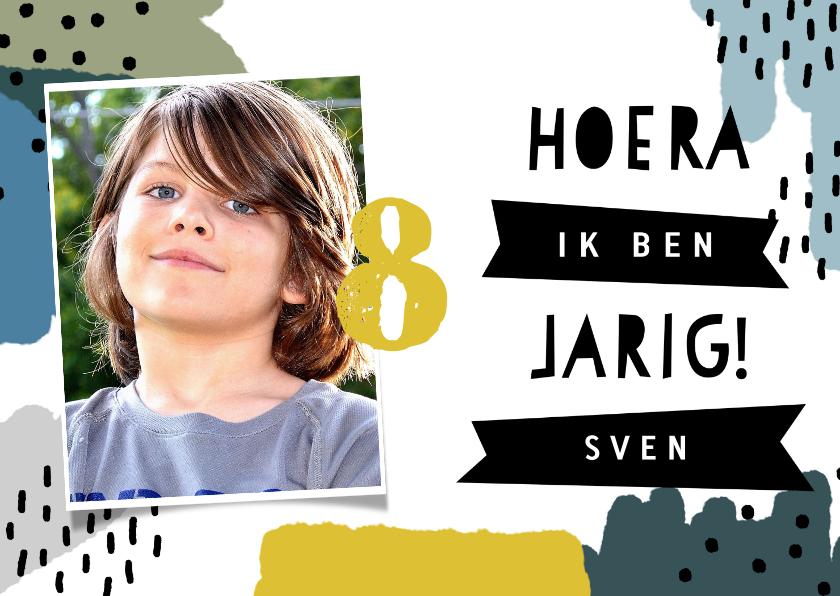 Kinderfeestjes - Vrolijke uitnodiging kinderfeestje met verf, stippen en foto