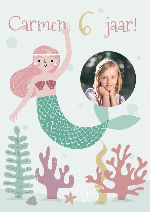 Kinderfeestjes - Vrolijke uitnodiging kinderfeestje zeemeermin met foto
