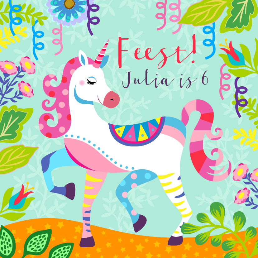 Kinderfeestjes - Vrolijke uitnodiging voor kinderfeestje met unicorn en foto