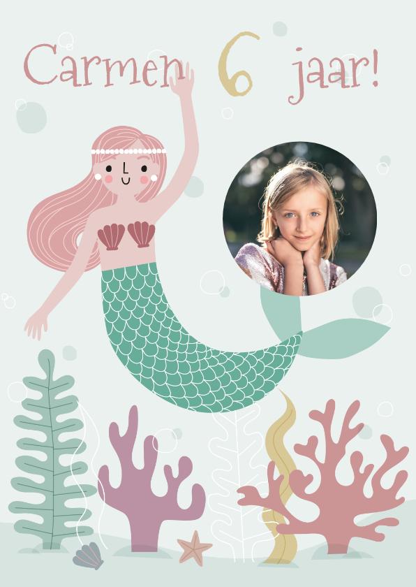 Kinderfeestjes - Vrolijke zeemeermin met foto uitnodiging kinderfeestje