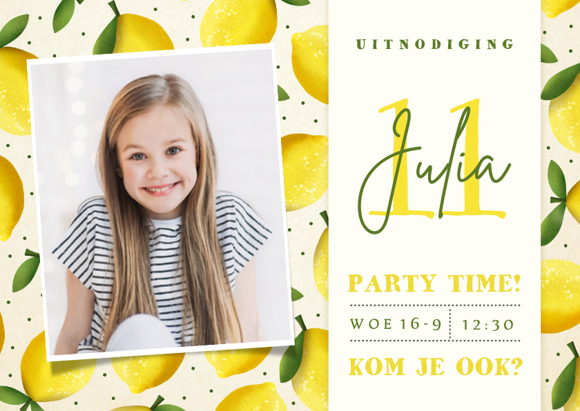 Kinderfeestjes - Vrolijke zomerse kinderfeestje uitnodiging met citroentjes