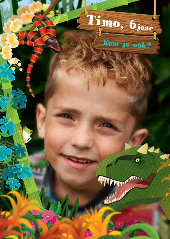 Kinderfeestjes - YVON dinosaurus jungle stoer foto