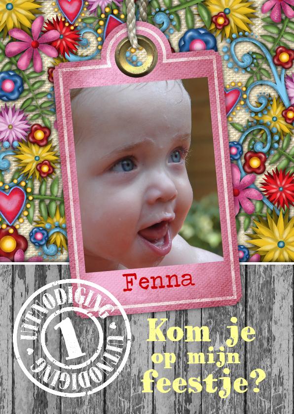 Kinderfeestjes - YVON kinderfeest meisje bloemen label