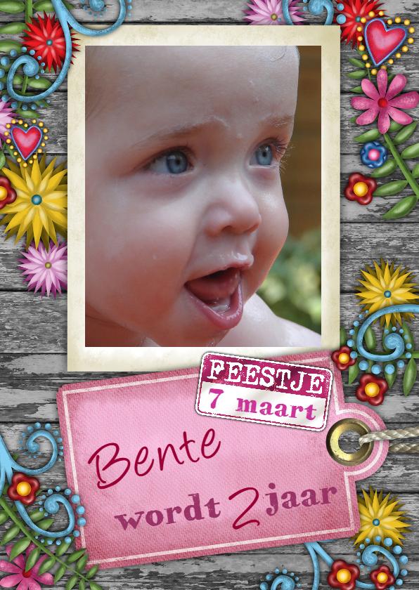 Kinderfeestjes - YVON meisje bloemen label foto