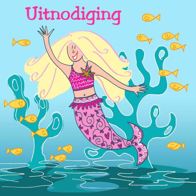 Kinderfeestjes - zeemeermin uitnodiging