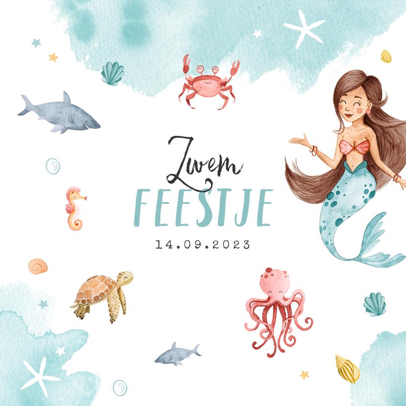 Kinderfeestjes - Zwemfeest uitnodiging kinderfeestje zeemeermin zeedieren