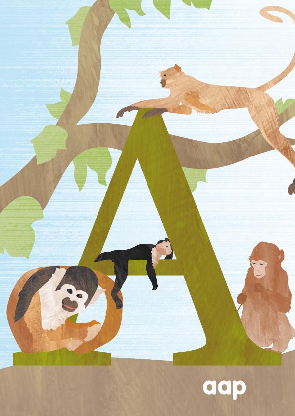 Kinderkaarten - A van aap letterkaart
