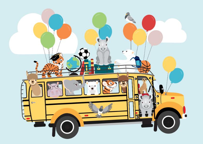 Kinderkaarten - Back to School kinderkaart met schoolbus vol dierenvrienden