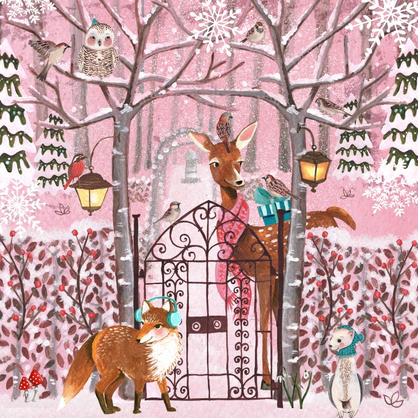Kinderkaarten - Dieren in de sneeuw in een roze bos.