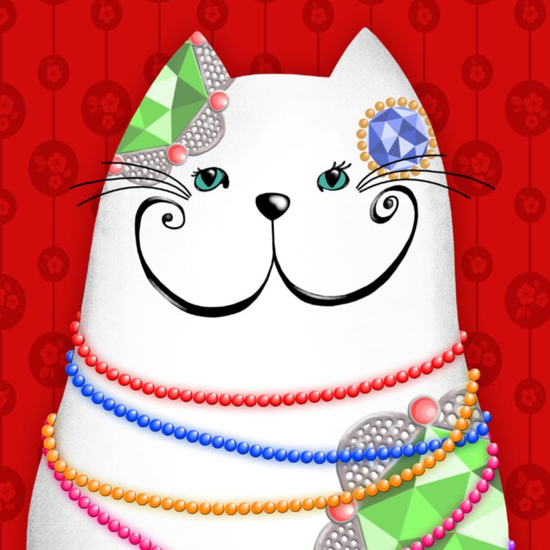 Kinderkaarten - Dierenkaart witte kat sieraden