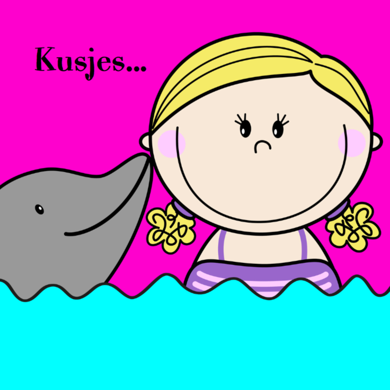 Kinderkaarten - Dolfijn kusjes