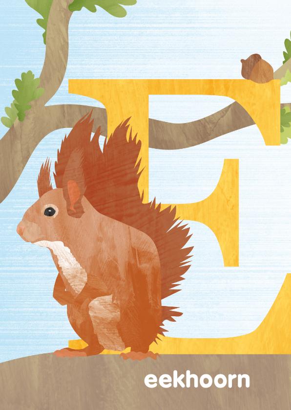 Kinderkaarten - E van eekhoorn letterkaart