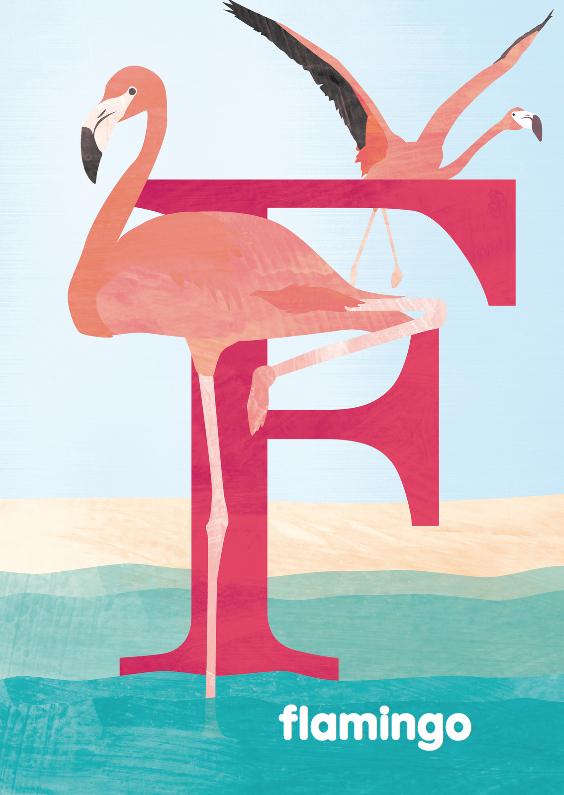 Kinderkaarten - F van flamingo