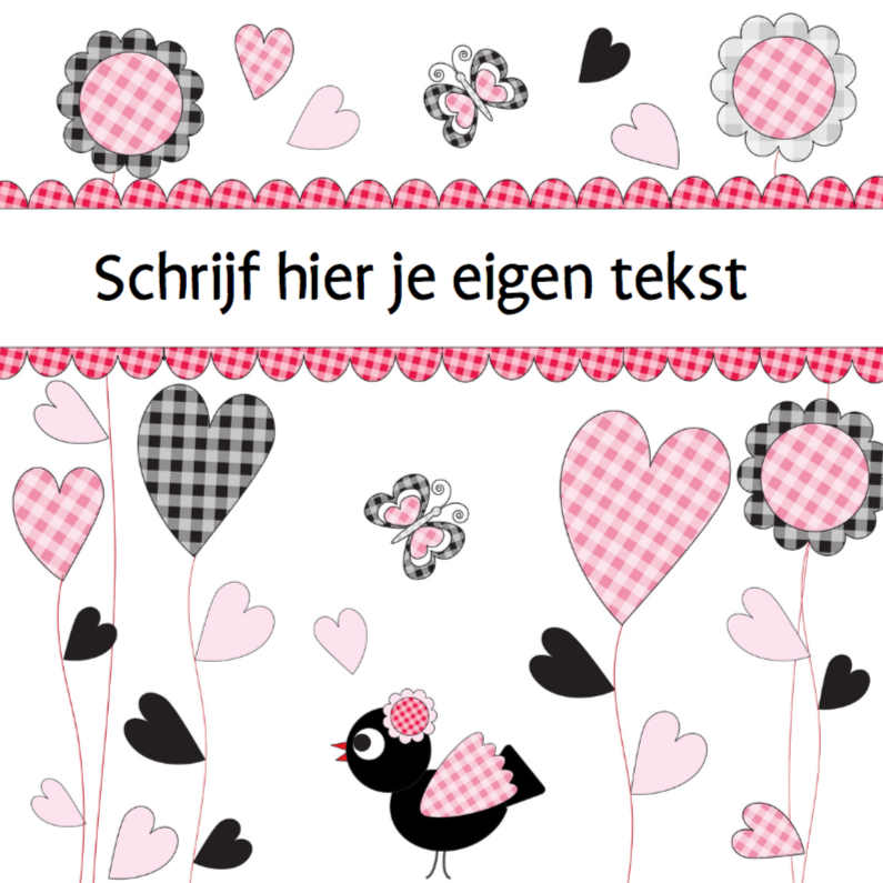 Felicitatiekaarten - Felicitatie LB vogel en bloemen
