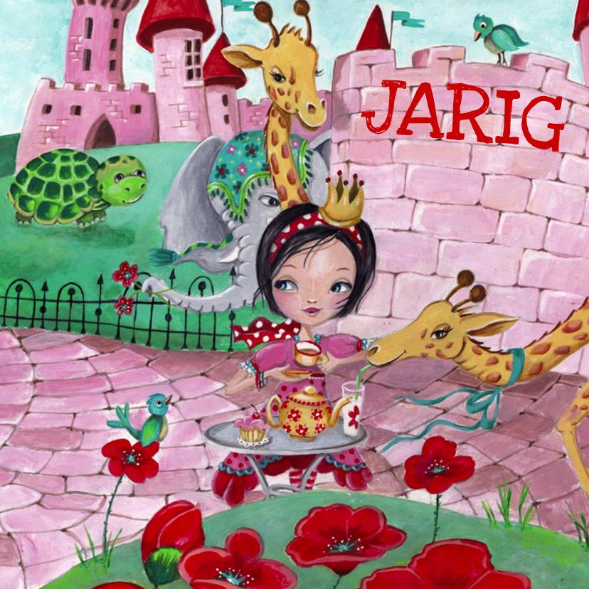 Kinderkaarten - Gefeliciteerd Thee Bloemen Illustratie