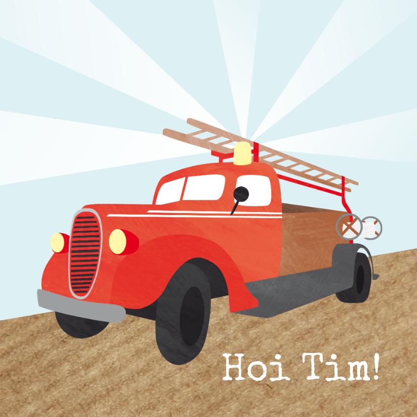 Kinderkaarten - Groetjes met brandweerauto