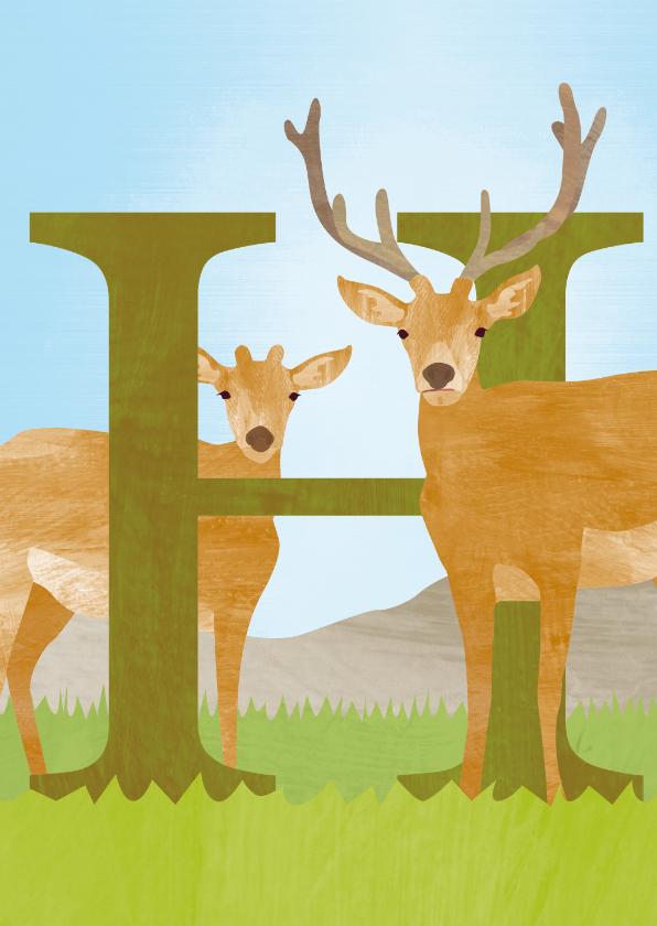 Kinderkaarten - H van hert letterkaart