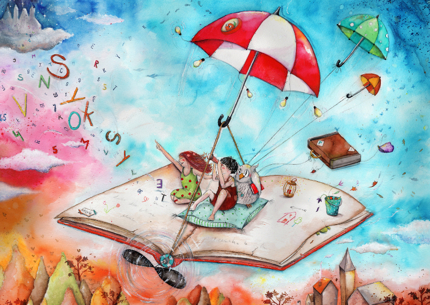Kinderkaarten - Het vliegend boek