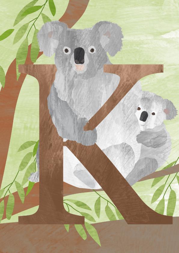 Kinderkaarten - K van koala letterkaart