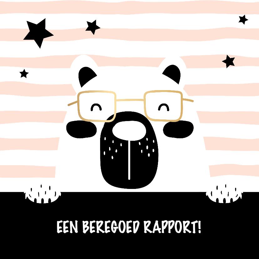 Kinderkaarten - Kaart 'Goed rapport' beer roze
