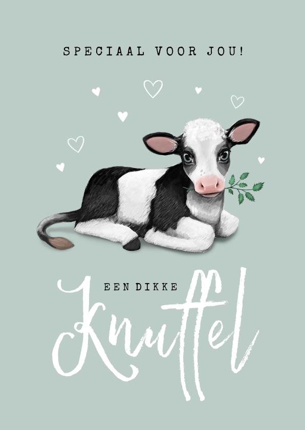 Kinderkaarten - Kinderkaart dier dikke knuffel kalfje hartje