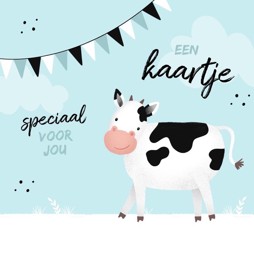 Kinderkaarten - Kinderkaart dier zomaar een kaartje koe boerderij