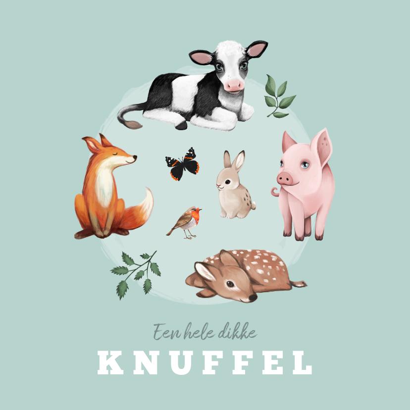 Kinderkaarten - Kinderkaart dieren dikke knuffel boerderijdieren