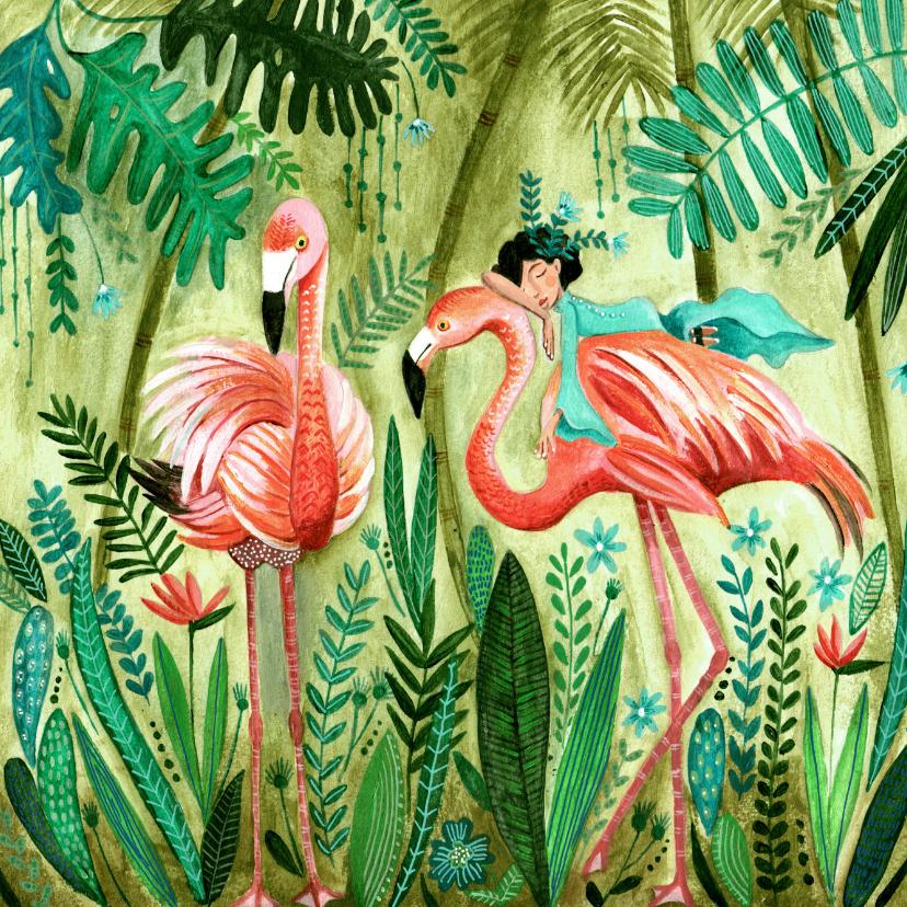Kinderkaarten - Kinderkaart flamingo meisje in een tropische jungle