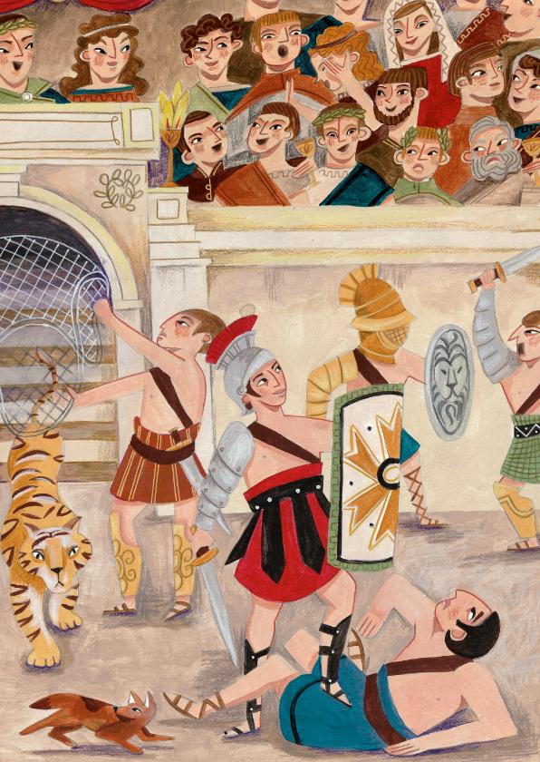 Kinderkaarten - Kinderkaart Gladiators met tijger in de Arena