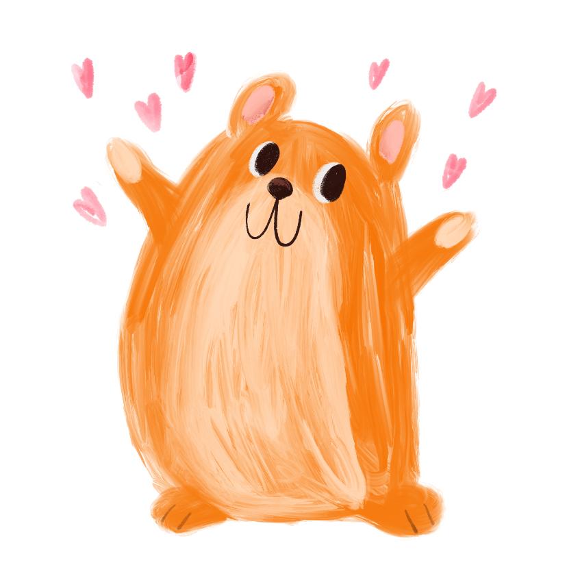 Kinderkaarten - Kinderkaart hamster hartjes