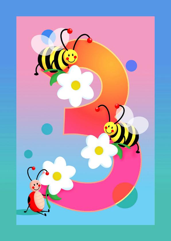 Kinderkaart hoera 3 jaar kinderkaarten kaartje2go for Poppenhuis kind 2 jaar