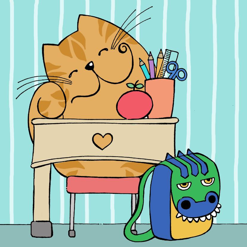 Kinderkaarten - Kinderkaart - kat op school