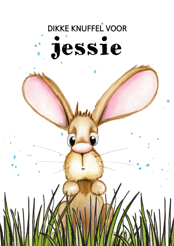 Kinderkaarten - Kinderkaart konijn uitkijkend over het gras