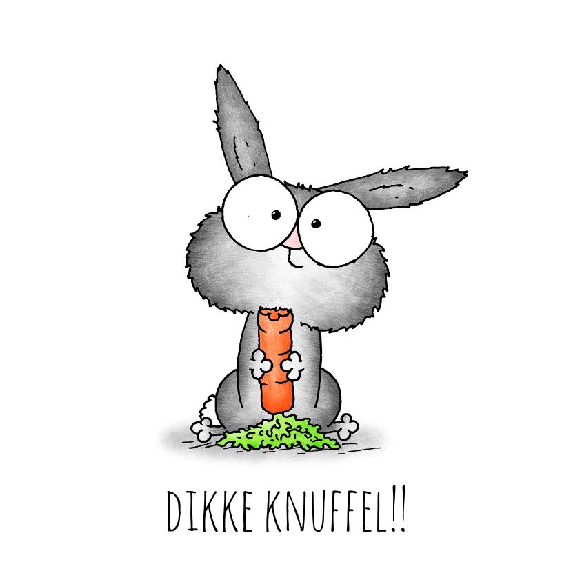 Kinderkaarten - Kinderkaart lief konijntje - Dikke knuffel!