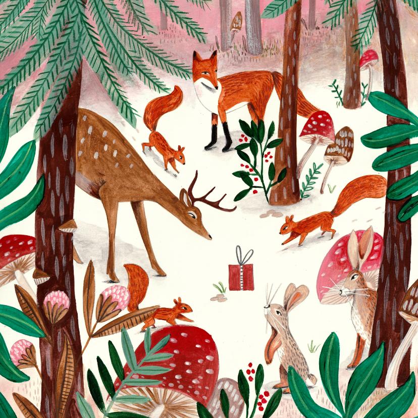 Kinderkaarten - Kinderkaart met dieren in een winter bos