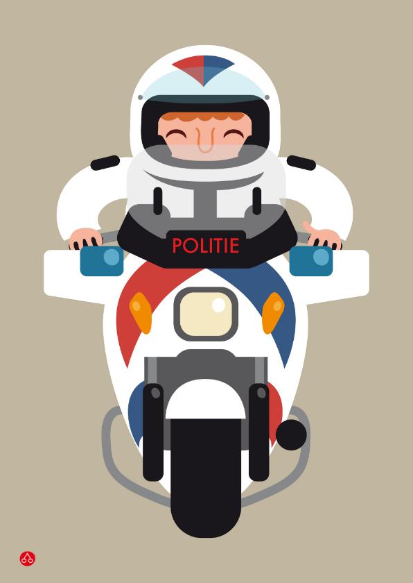 Kinderkaarten - Kinderkaart met een illustratie van een motor agent