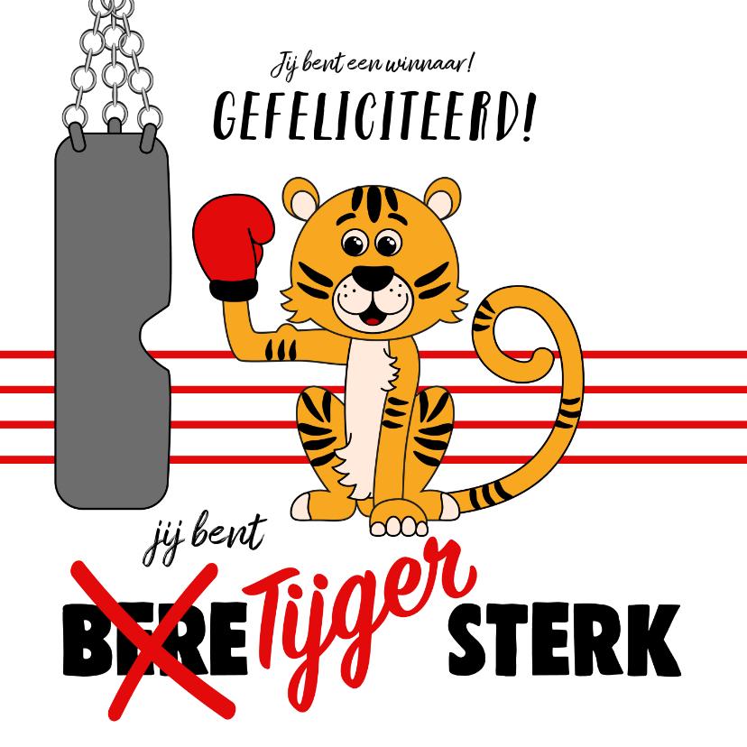 Kinderkaarten - Kinderkaart met een tijger met een bokshandschoen