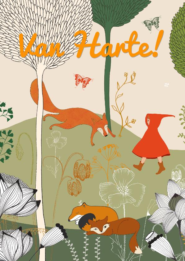 Kinderkaarten - Kinderkaart met roodkapje wandelt in het bos