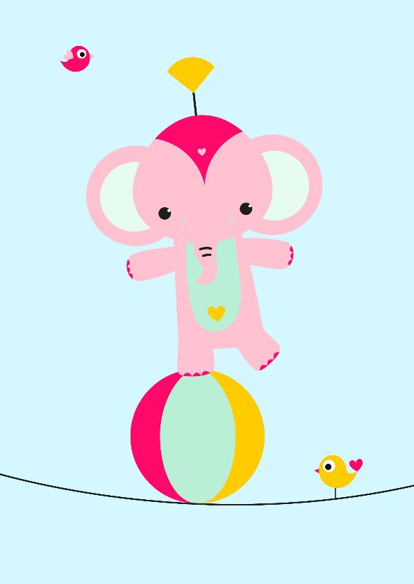 Kinderkaarten - Kinderkaart - Olifantje koorddansen