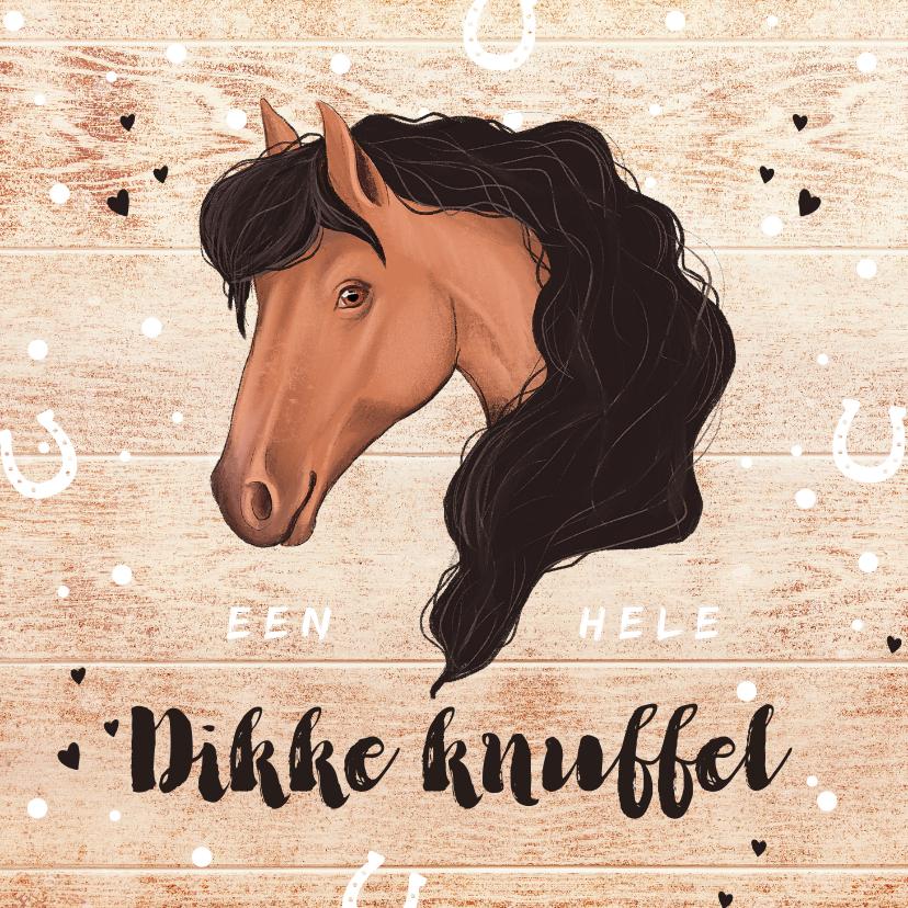 Kinderkaarten - Kinderkaart paard dikke knuffel hout hoefjes