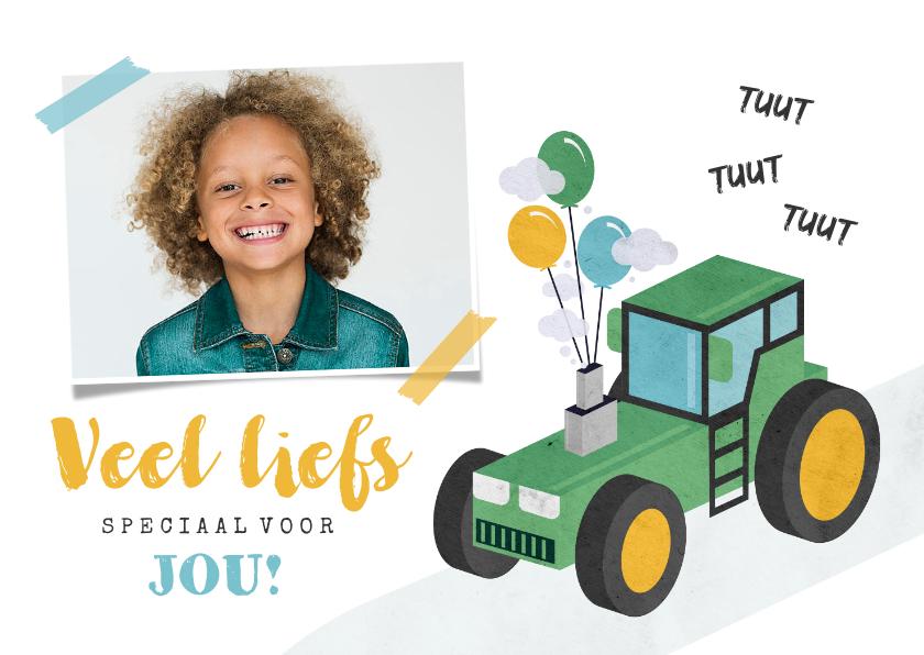 Kinderkaarten - Kinderkaart veel liefs tractor foto ballonnen